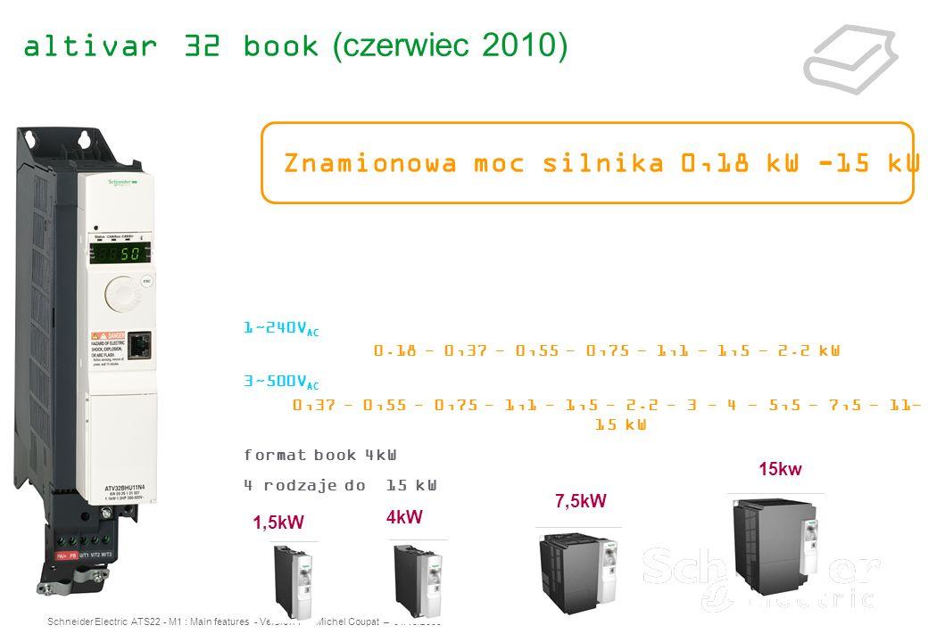 Schneider Electric ATS22 - M1 : Main features - Version 1 – Michel Coupat – 01/10/2009 altivar 32 book (czerwiec 2010) 1~240V AC 0.18 - 0,37 - 0,55 -