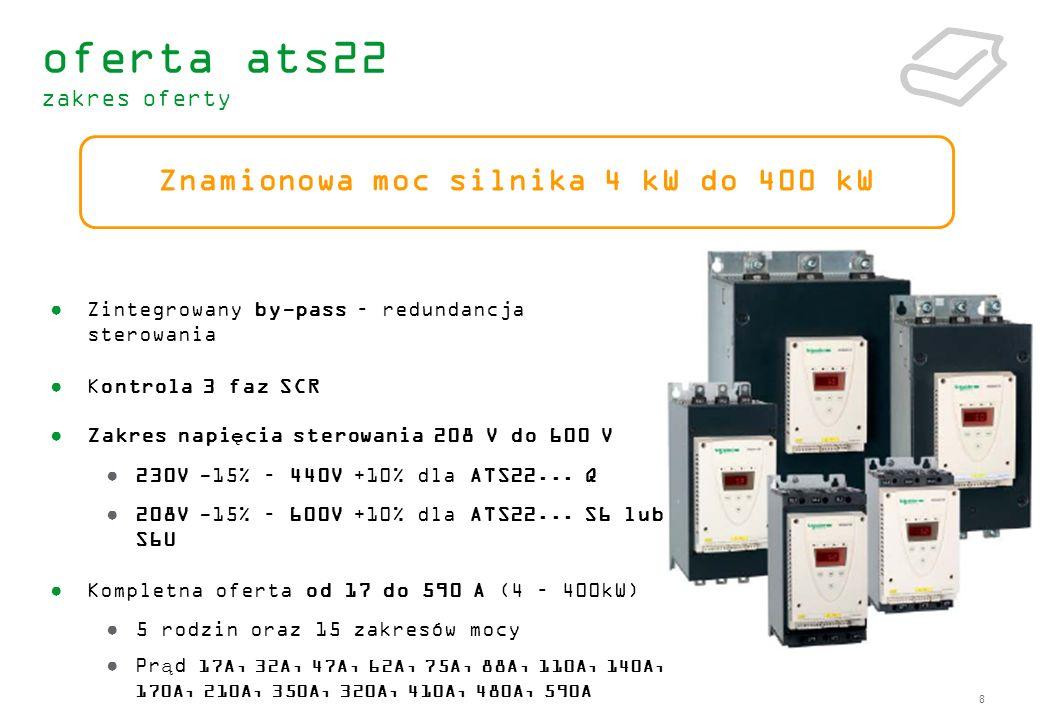 8 Zintegrowany by-pass – redundancja sterowania Kontrola 3 faz SCR Zakres napięcia sterowania 208 V do 600 V 230V -15% – 440V +10% dla ATS22... Q 208V