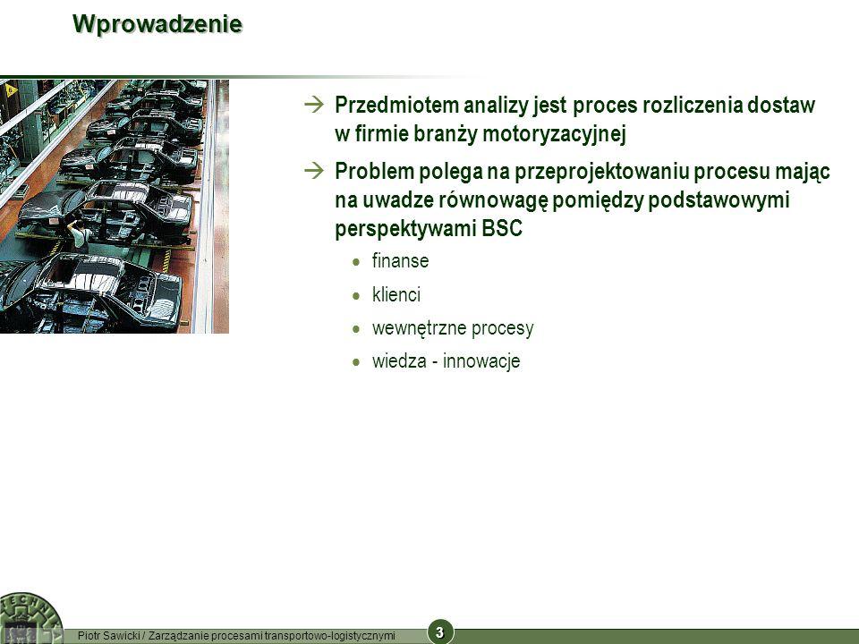 3 3 Piotr Sawicki / Zarządzanie procesami transportowo-logistycznymi Wprowadzenie Przedmiotem analizy jest proces rozliczenia dostaw w firmie branży m