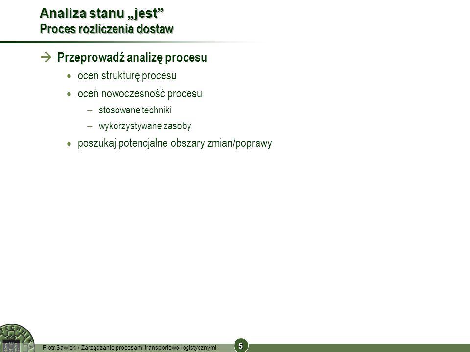 5 5 Piotr Sawicki / Zarządzanie procesami transportowo-logistycznymi Analiza stanu jest Proces rozliczenia dostaw Przeprowadź analizę procesu oceń str