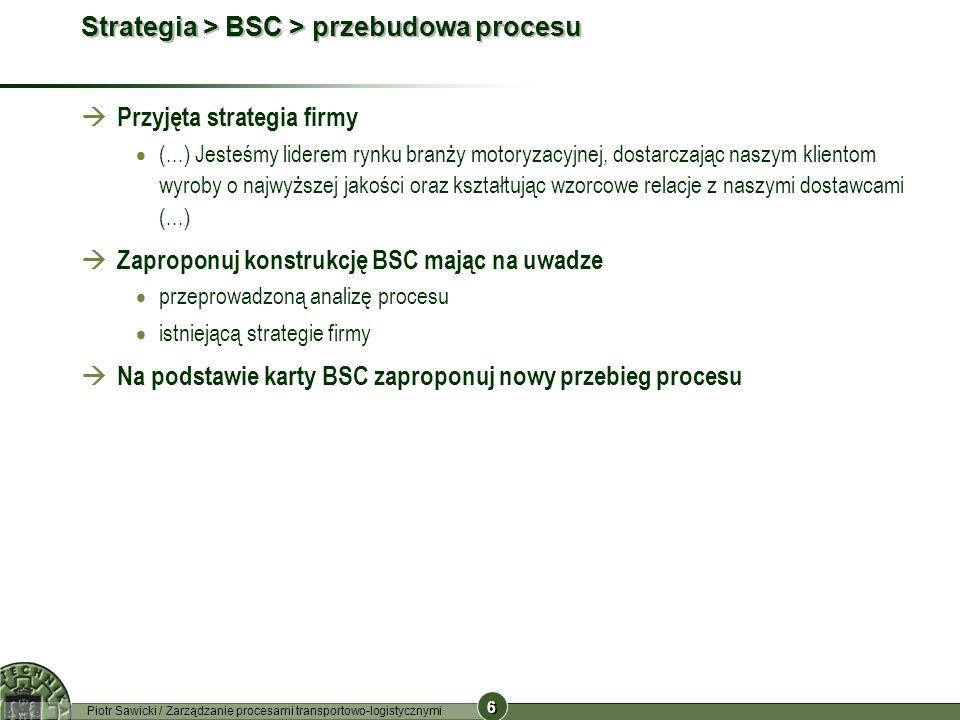 6 6 Piotr Sawicki / Zarządzanie procesami transportowo-logistycznymi Strategia > BSC > przebudowa procesu Przyjęta strategia firmy (...) Jesteśmy lide