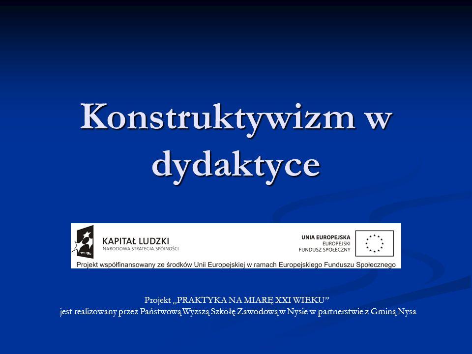 Konstruktywizm w dydaktyce Projekt PRAKTYKA NA MIARĘ XXI WIEKU jest realizowany przez Państwową Wyższą Szkołę Zawodową w Nysie w partnerstwie z Gminą