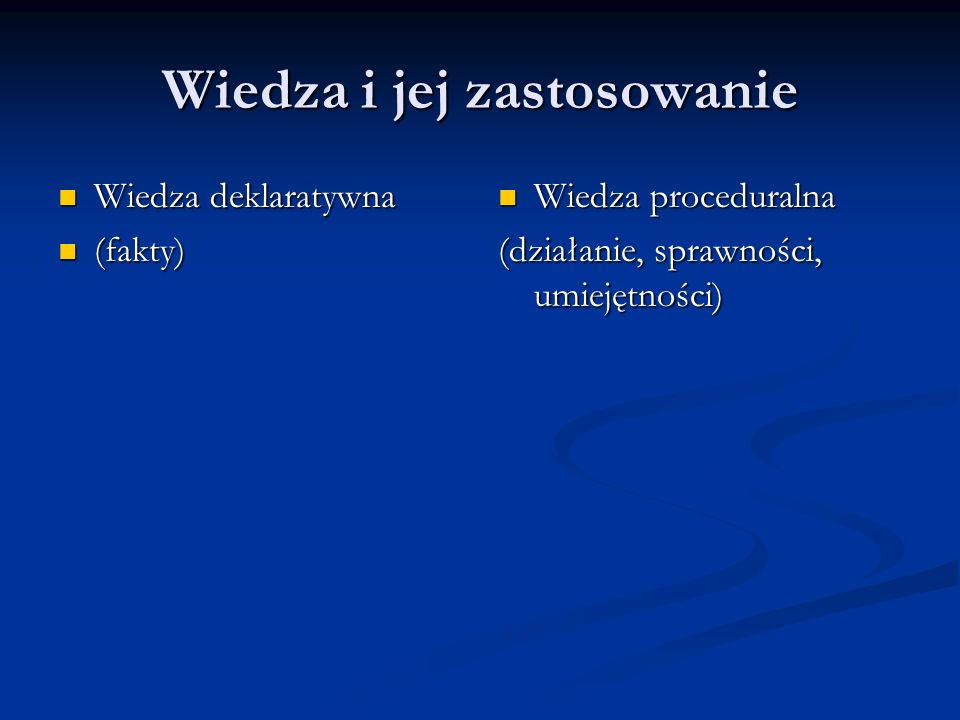 Wiedza i jej zastosowanie Wiedza deklaratywna Wiedza deklaratywna (fakty) (fakty) Wiedza proceduralna (działanie, sprawności, umiejętności)