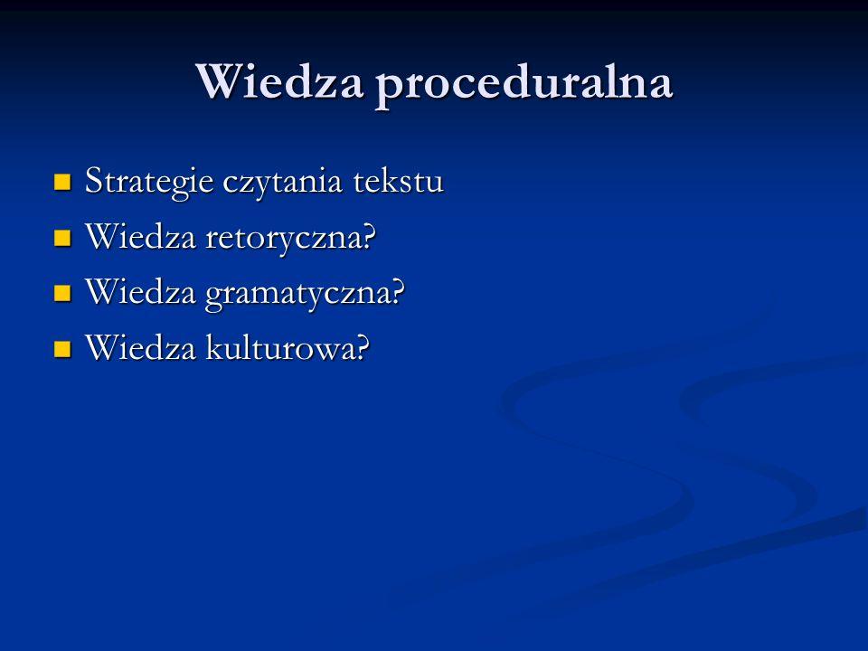 Wiedza proceduralna Strategie czytania tekstu Strategie czytania tekstu Wiedza retoryczna? Wiedza retoryczna? Wiedza gramatyczna? Wiedza gramatyczna?