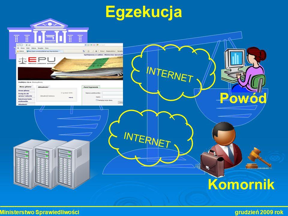 Ministerstwo Sprawiedliwości grudzień 2009 rok Komornik Powód Egzekucja INTERNET