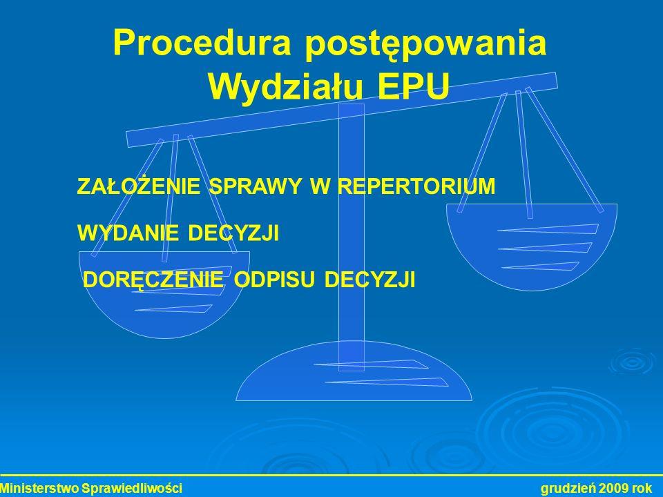 Ministerstwo Sprawiedliwości grudzień 2009 rok Procedura postępowania Wydziału EPU ZAŁOŻENIE SPRAWY W REPERTORIUM DORĘCZENIE ODPISU DECYZJI WYDANIE DE