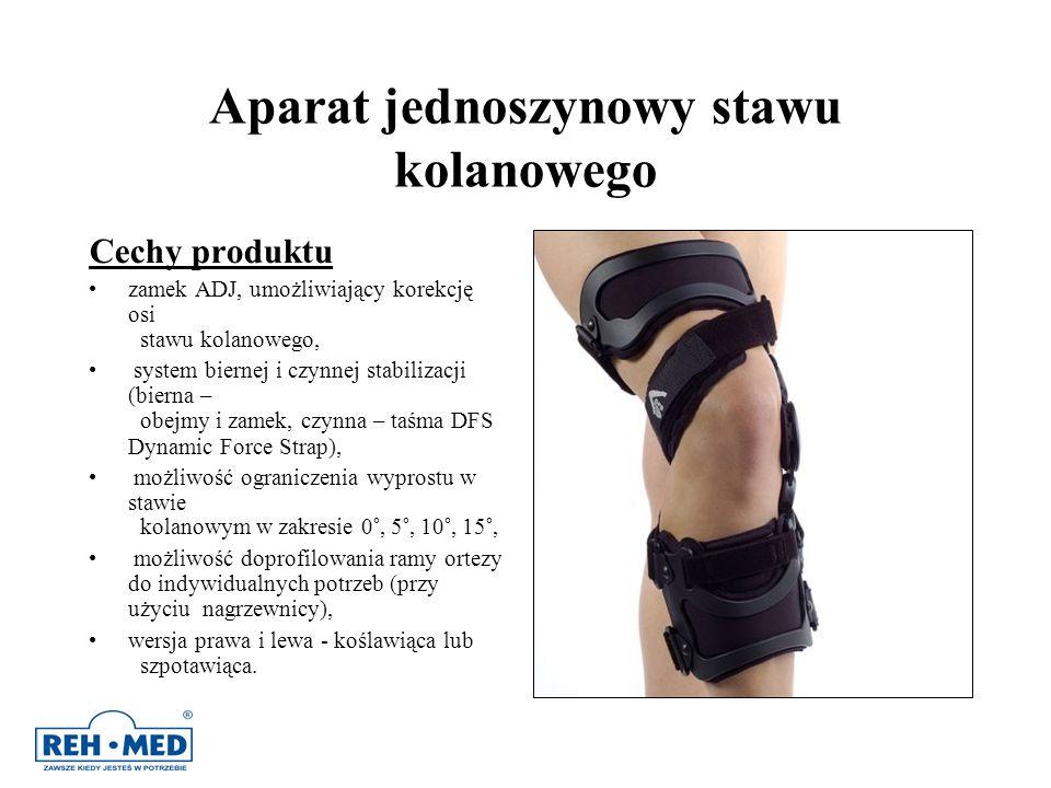 Aparat jednoszynowy stawu kolanowego Cechy produktu zamek ADJ, umożliwiający korekcję osi stawu kolanowego, system biernej i czynnej stabilizacji (bie