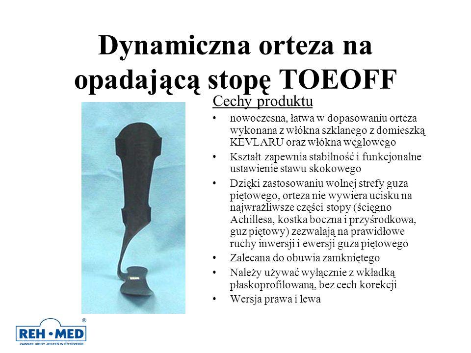 Dynamiczna orteza na opadającą stopę TOEOFF Cechy produktu nowoczesna, łatwa w dopasowaniu orteza wykonana z włókna szklanego z domieszką KEVLARU oraz