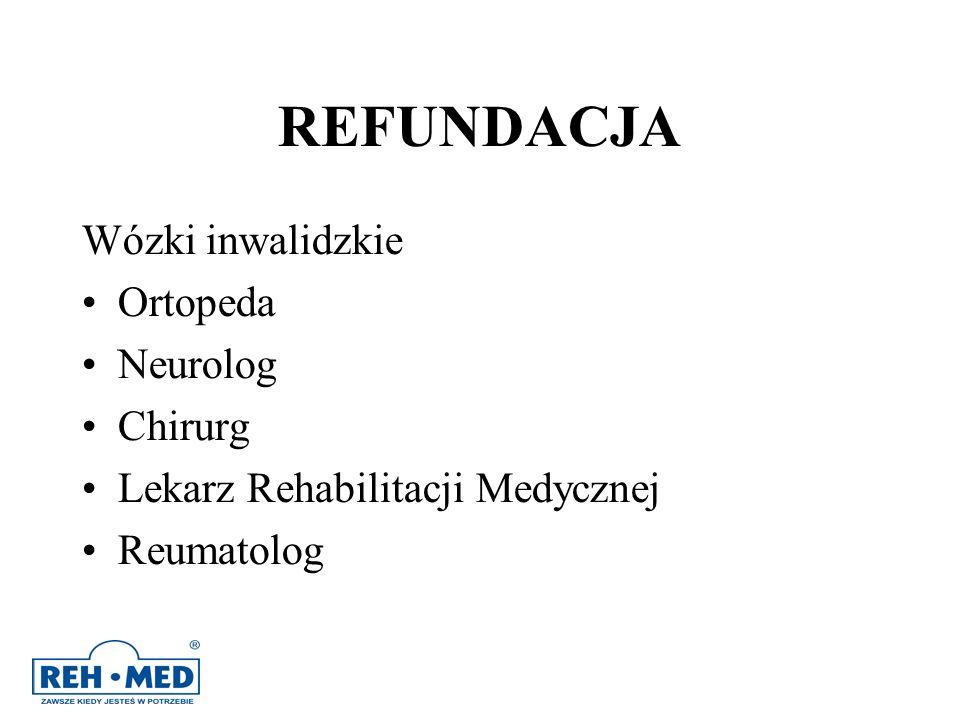 REFUNDACJA Wózki inwalidzkie Ortopeda Neurolog Chirurg Lekarz Rehabilitacji Medycznej Reumatolog