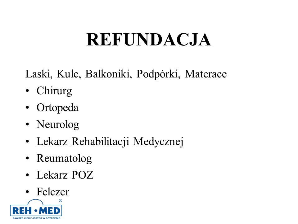 REFUNDACJA Laski, Kule, Balkoniki, Podpórki, Materace Chirurg Ortopeda Neurolog Lekarz Rehabilitacji Medycznej Reumatolog Lekarz POZ Felczer
