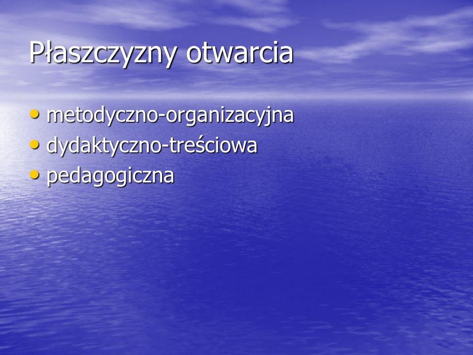 Płaszczyzny otwarcia metodyczno-organizacyjna metodyczno-organizacyjna dydaktyczno-treściowa dydaktyczno-treściowa pedagogiczna pedagogiczna