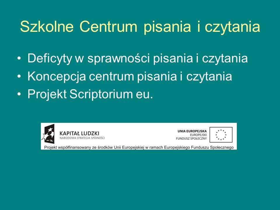 Szkolne Centrum pisania i czytania Deficyty w sprawności pisania i czytania Koncepcja centrum pisania i czytania Projekt Scriptorium eu.