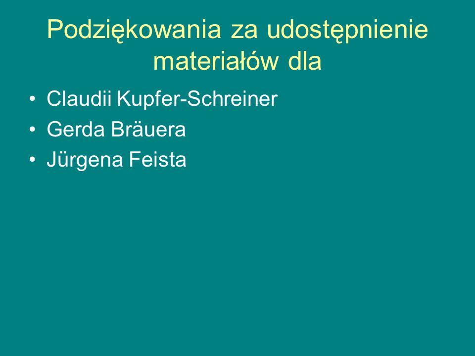 Podziękowania za udostępnienie materiałów dla Claudii Kupfer-Schreiner Gerda Bräuera Jürgena Feista