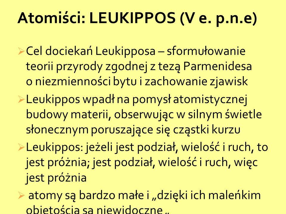 Cel dociekań Leukipposa – sformułowanie teorii przyrody zgodnej z tezą Parmenidesa o niezmienności bytu i zachowanie zjawisk Leukippos wpadł na pomysł atomistycznej budowy materii, obserwując w silnym świetle słonecznym poruszające się cząstki kurzu Leukippos: jeżeli jest podział, wielość i ruch, to jest próżnia; jest podział, wielość i ruch, więc jest próżnia atomy są bardzo małe i dzięki ich maleńkim objętością są niewidoczne Atomiści: LEUKIPPOS (V e.