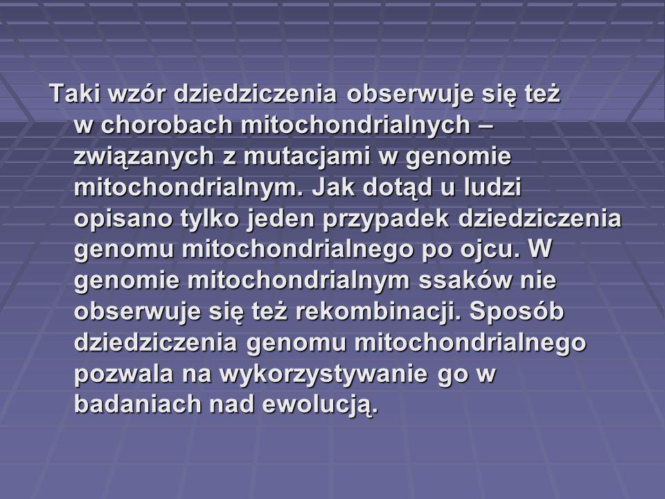 Taki wzór dziedziczenia obserwuje się też w chorobach mitochondrialnych – związanych z mutacjami w genomie mitochondrialnym. Jak dotąd u ludzi opisano