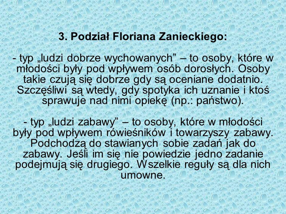 3. Podział Floriana Zanieckiego: - typ ludzi dobrze wychowanych – to osoby, które w młodości były pod wpływem osób dorosłych. Osoby takie czują się do