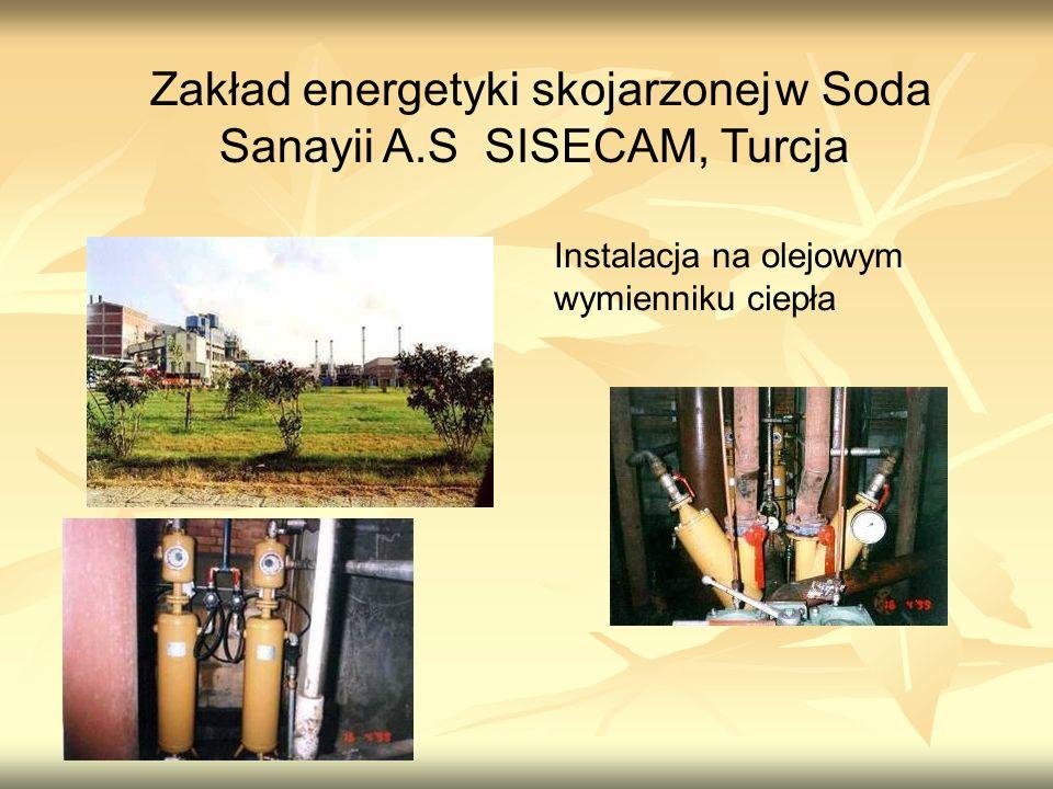 Zakład energetyki skojarzonej w Soda Sanayii A.S SISECAM, Turcja Instalacja na olejowym wymienniku ciepła