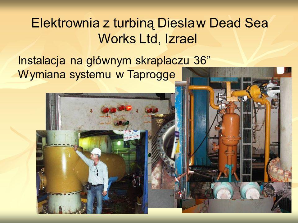 Elektrownia z turbiną Diesla w Dead Sea Works Ltd, Izrael Instalacja na głównym skraplaczu 36 Wymiana systemu w Taprogge