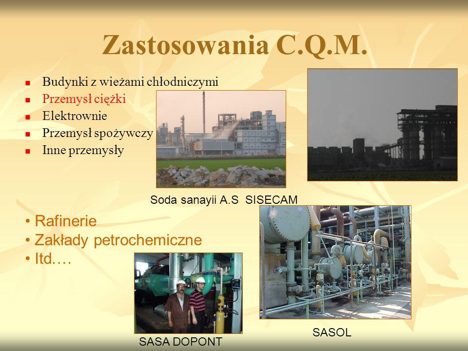 Budynki z wieżami chłodniczymi Przemysł ciężki Elektrownie Przemysł spożywczy Inne przemysły Soda sanayii A.S SISECAM SASA DOPONT SASOL Zastosowania C.Q.M.