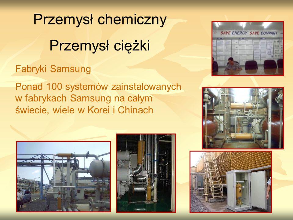 Fabryki Samsung Ponad 100 systemów zainstalowanych w fabrykach Samsung na całym świecie, wiele w Korei i Chinach Przemysł chemiczny Przemysł ciężki