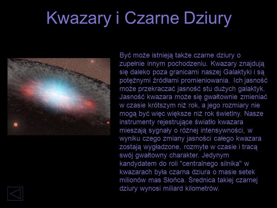 Być może istnieją także czarne dziury o zupełnie innym pochodzeniu. Kwazary znajdują się daleko poza granicami naszej Galaktyki i są potężnymi źródłam