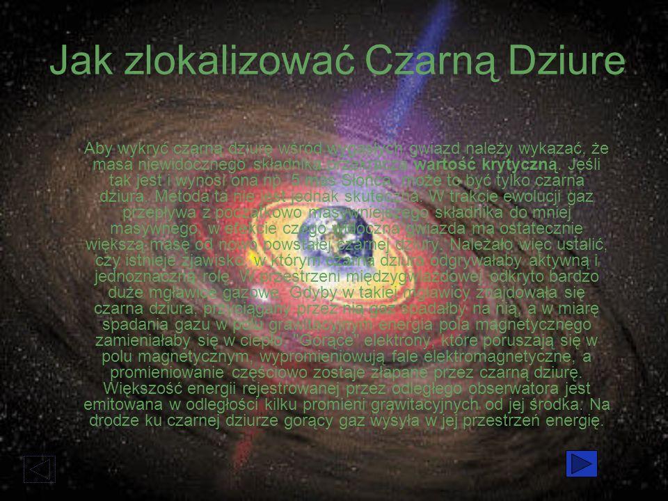 Jak zlokalizować Czarną Dziure Aby wykryć czarną dziurę wśród wygasłych gwiazd należy wykazać, że masa niewidocznego składnika przekracza wartość krytyczną.