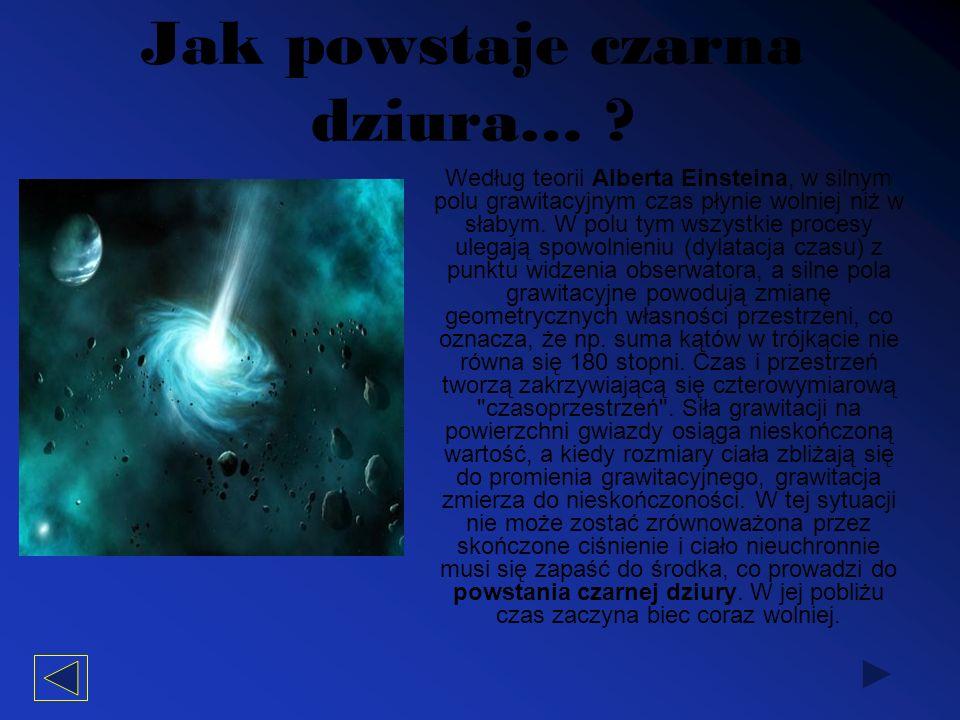 Jak powstaje czarna dziura… ? Według teorii Alberta Einsteina, w silnym polu grawitacyjnym czas płynie wolniej niż w słabym. W polu tym wszystkie proc