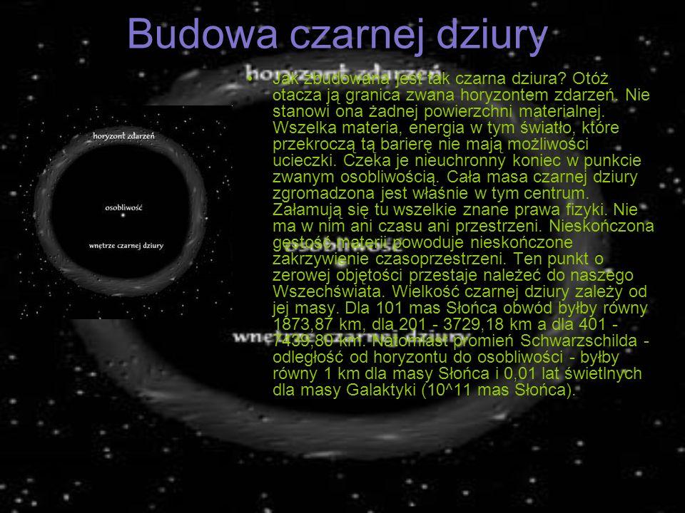Budowa czarnej dziury Jak zbudowana jest tak czarna dziura? Otóż O tacza ją granica zwana horyzontem zdarzeń. Nie stanowi ona żadnej powierzchni mater