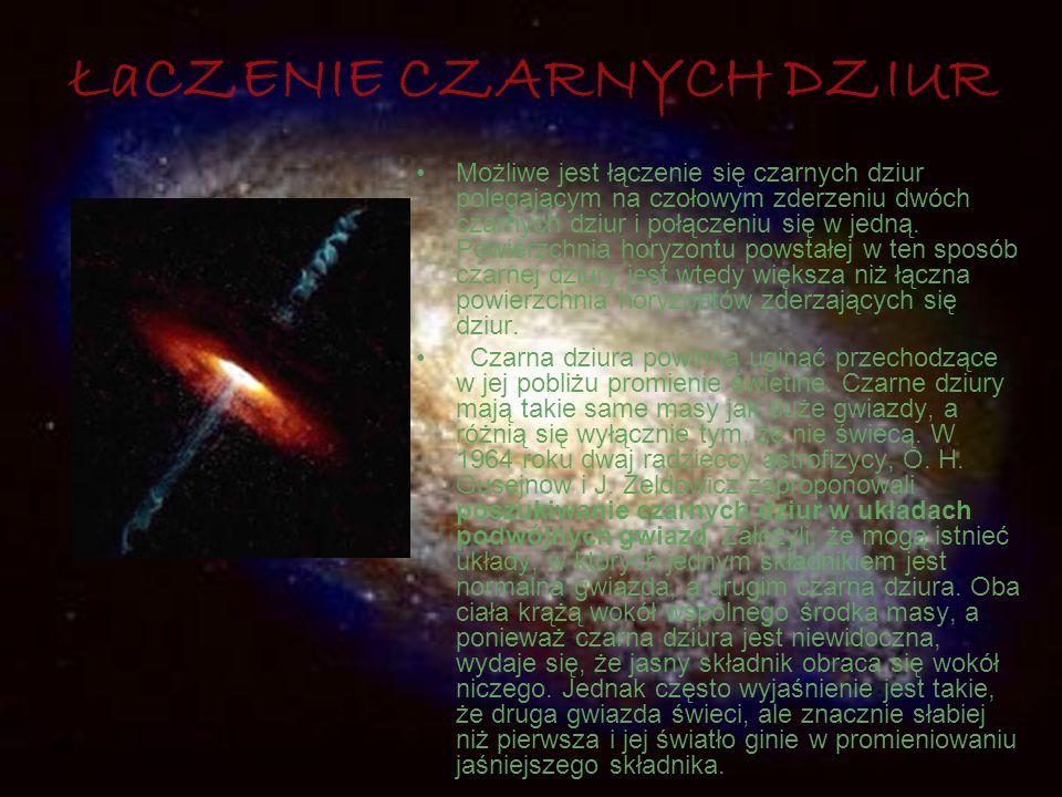 ŁaCZENIE CZARNYCH DZIUR Możliwe jest łączenie się czarnych dziur polegającym na czołowym zderzeniu dwóch czarnych dziur i połączeniu się w jedną. Powi