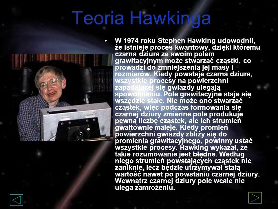 Teoria Hawkinga W 1974 roku Stephen Hawking udowodnił, że istnieje proces kwantowy, dzięki któremu czarna dziura ze swoim polem grawitacyjnym może stwarzać cząstki, co prowadzi do zmniejszenia jej masy i rozmiarów.