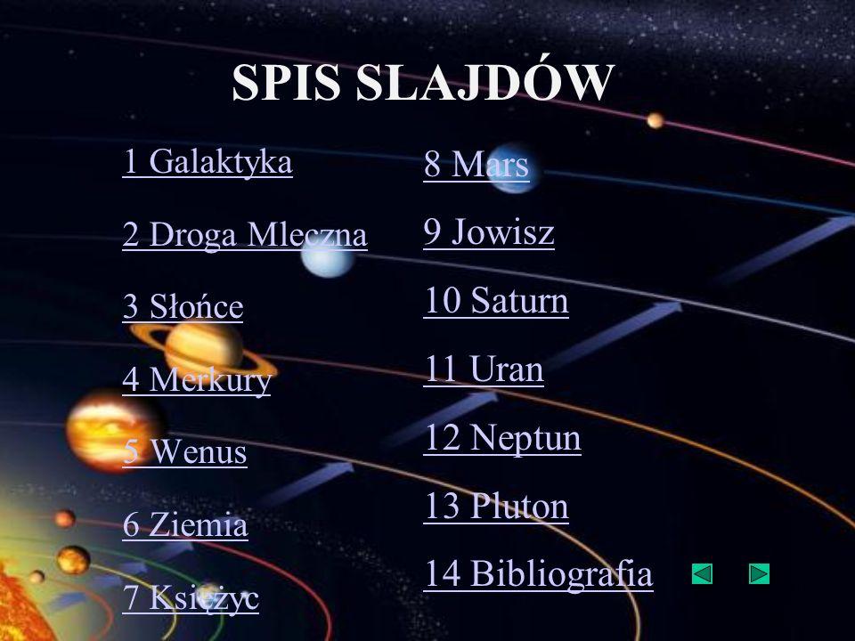 SPIS SLAJDÓW 1 Galaktyka 2 Droga Mleczna 3 Słońce 4 Merkury 5 Wenus 6 Ziemia 7 Księżyc 8 Mars 9 Jowisz 10 Saturn 11 Uran 12 Neptun 13 Pluton 14 Biblio