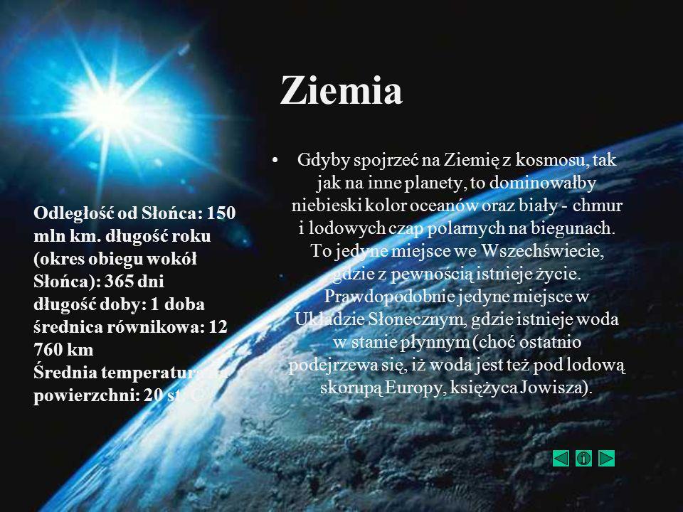 Gdyby spojrzeć na Ziemię z kosmosu, tak jak na inne planety, to dominowałby niebieski kolor oceanów oraz biały - chmur i lodowych czap polarnych na bi