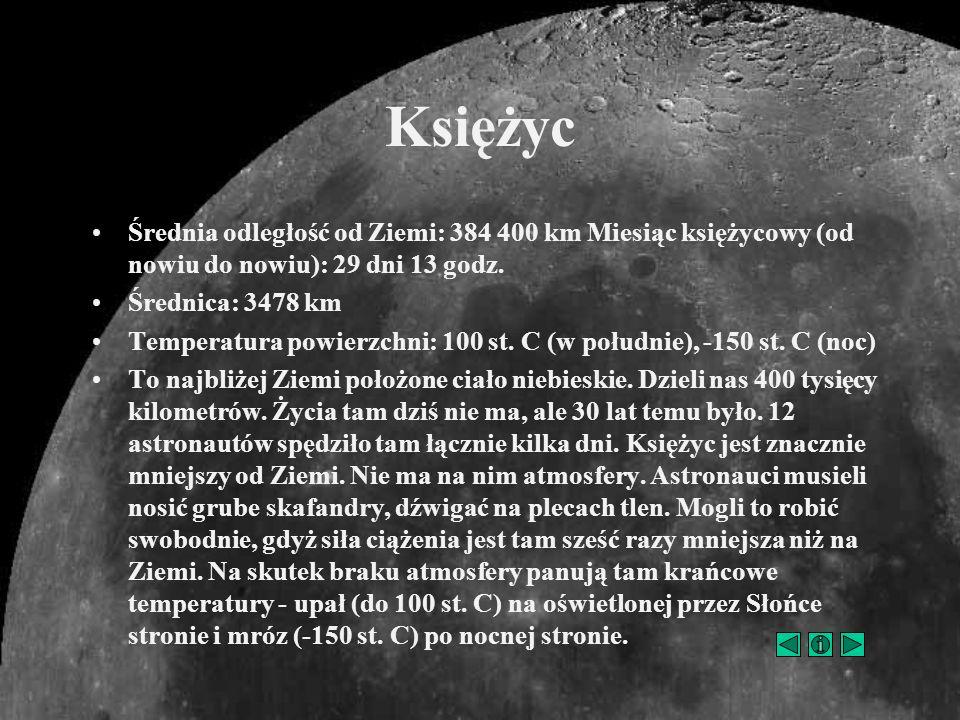 Średnia odległość od Ziemi: 384 400 km Miesiąc księżycowy (od nowiu do nowiu): 29 dni 13 godz. Średnica: 3478 km Temperatura powierzchni: 100 st. C (w