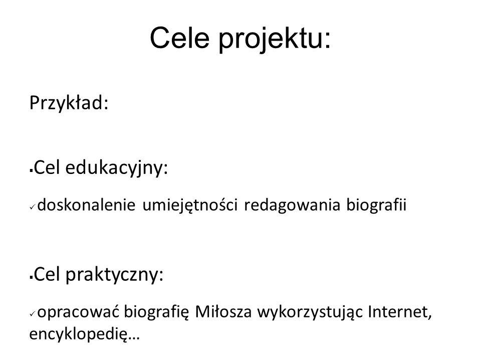 Cele projektu: Przykład: Cel edukacyjny: doskonalenie umiejętności redagowania biografii Cel praktyczny: opracować biografię Miłosza wykorzystując Int