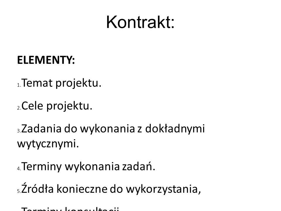 Kontrakt: ELEMENTY: 1. Temat projektu. 2. Cele projektu. 3. Zadania do wykonania z dokładnymi wytycznymi. 4. Terminy wykonania zadań. 5. Źródła koniec