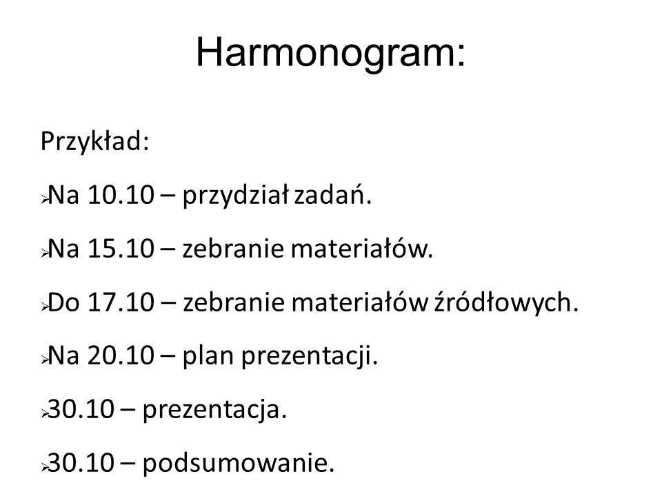 Harmonogram: Przykład: Na 10.10 – przydział zadań. Na 15.10 – zebranie materiałów. Do 17.10 – zebranie materiałów źródłowych. Na 20.10 – plan prezenta