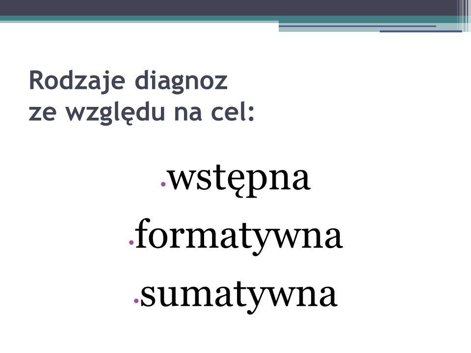 Rodzaje diagnoz ze względu na cel: wstępna formatywna sumatywna