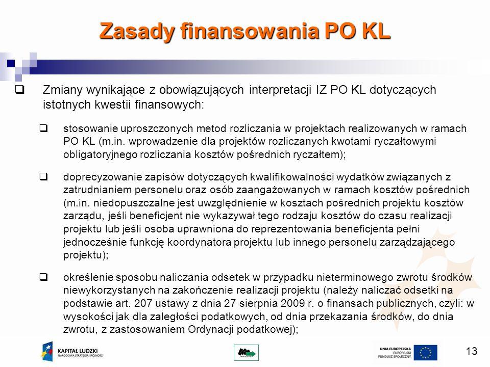 13 Zmiany wynikające z obowiązujących interpretacji IZ PO KL dotyczących istotnych kwestii finansowych: stosowanie uproszczonych metod rozliczania w projektach realizowanych w ramach PO KL (m.in.