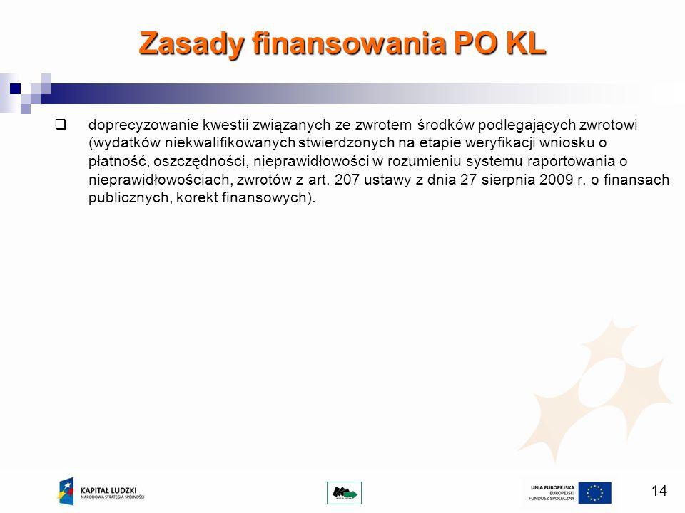 14 doprecyzowanie kwestii związanych ze zwrotem środków podlegających zwrotowi (wydatków niekwalifikowanych stwierdzonych na etapie weryfikacji wniosku o płatność, oszczędności, nieprawidłowości w rozumieniu systemu raportowania o nieprawidłowościach, zwrotów z art.