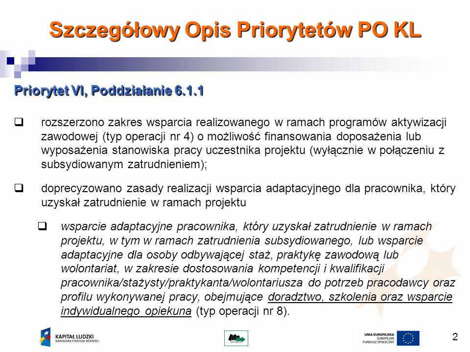 2 Priorytet VI, Poddziałanie 6.1.1 rozszerzono zakres wsparcia realizowanego w ramach programów aktywizacji zawodowej (typ operacji nr 4) o możliwość