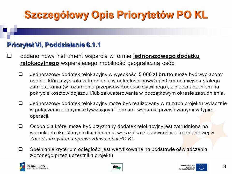 3 Priorytet VI, Poddziałanie 6.1.1 dodano nowy instrument wsparcia w formie jednorazowego dodatku relokacyjnego wspierającego mobilność geograficzną osób Jednorazowy dodatek relokacyjny w wysokości 5 000 zł brutto może być wypłacony osobie, która uzyskała zatrudnienie w odległości powyżej 50 km od miejsca stałego zamieszkania (w rozumieniu przepisów Kodeksu Cywilnego), z przeznaczeniem na pokrycie kosztów dojazdu i/lub zakwaterowania w początkowym okresie zatrudnienia.