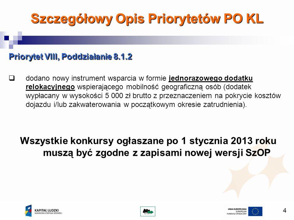4 Priorytet VIII, Poddziałanie 8.1.2 dodano nowy instrument wsparcia w formie jednorazowego dodatku relokacyjnego wspierającego mobilność geograficzną