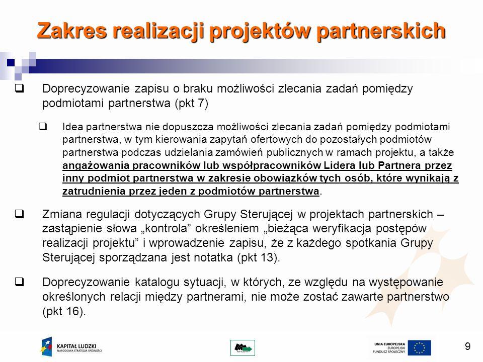 9 Doprecyzowanie zapisu o braku możliwości zlecania zadań pomiędzy podmiotami partnerstwa (pkt 7) Idea partnerstwa nie dopuszcza możliwości zlecania zadań pomiędzy podmiotami partnerstwa, w tym kierowania zapytań ofertowych do pozostałych podmiotów partnerstwa podczas udzielania zamówień publicznych w ramach projektu, a także angażowania pracowników lub współpracowników Lidera lub Partnera przez inny podmiot partnerstwa w zakresie obowiązków tych osób, które wynikają z zatrudnienia przez jeden z podmiotów partnerstwa.