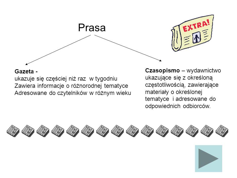 Czasopismo – wydawnictwo ukazujące się z określoną częstotliwością, zawierające materiały o określonej tematyce i adresowane do odpowiednich odbiorców
