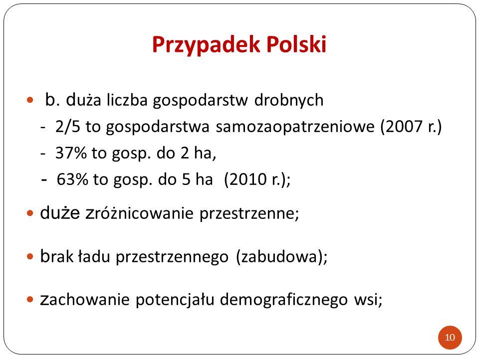 Przypadek Polski b. d uża liczba gospodarstw drobnych - 2/5 to gospodarstwa samozaopatrzeniowe (2007 r.) - 37% to gosp. do 2 ha, - 63% to gosp. do 5 h