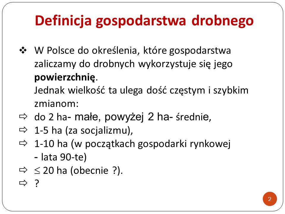 Definicja gospodarstwa drobnego W Polsce do określenia, które gospodarstwa zaliczamy do drobnych wykorzystuje się jego powierzchnię. Jednak wielkość t
