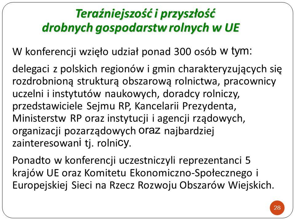 W konferencji wzięło udział ponad 300 osób w tym: delegaci z polskich regionów i gmin charakteryzujących się rozdrobnioną strukturą obszarową rolnictw
