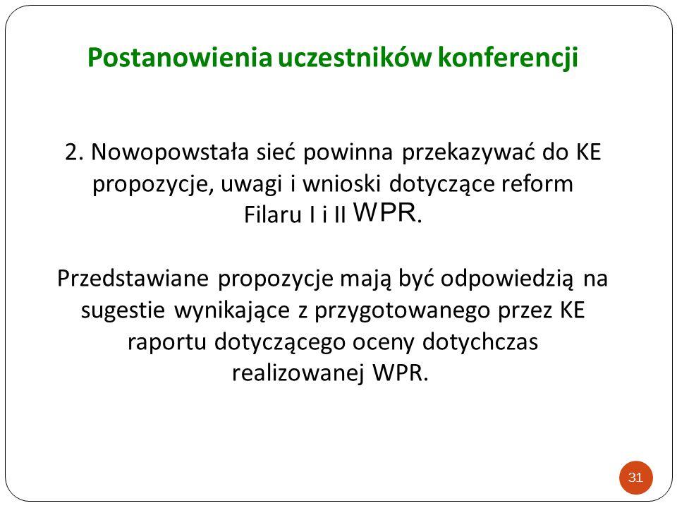 2. Nowopowstała sieć powinna przekazywać do KE propozycje, uwagi i wnioski dotyczące reform Filaru I i II WPR. Przedstawiane propozycje mają być odpow