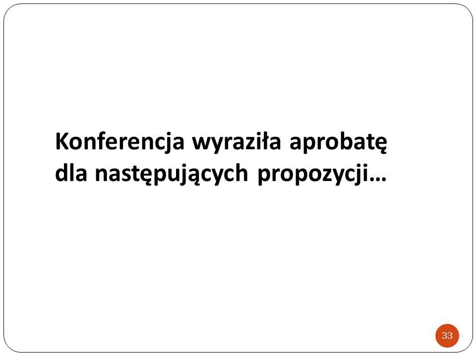 Konferencja wyraziła aprobatę dla następujących propozycji… 33