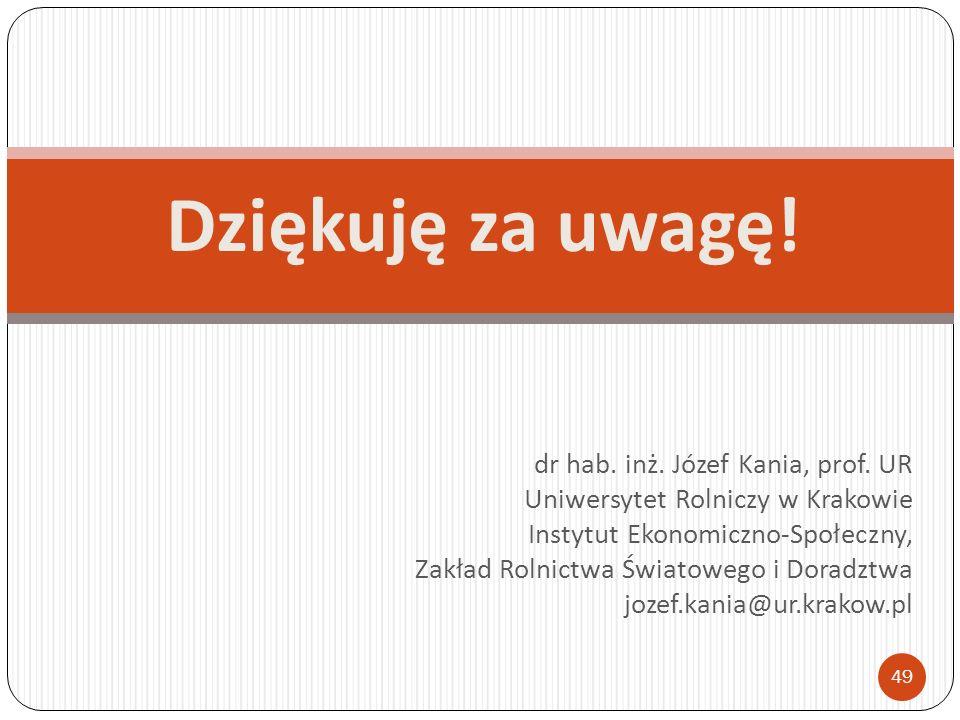 Dziękuję za uwagę! dr hab. inż. Józef Kania, prof. UR Uniwersytet Rolniczy w Krakowie Instytut Ekonomiczno-Społeczny, Zakład Rolnictwa Światowego i Do